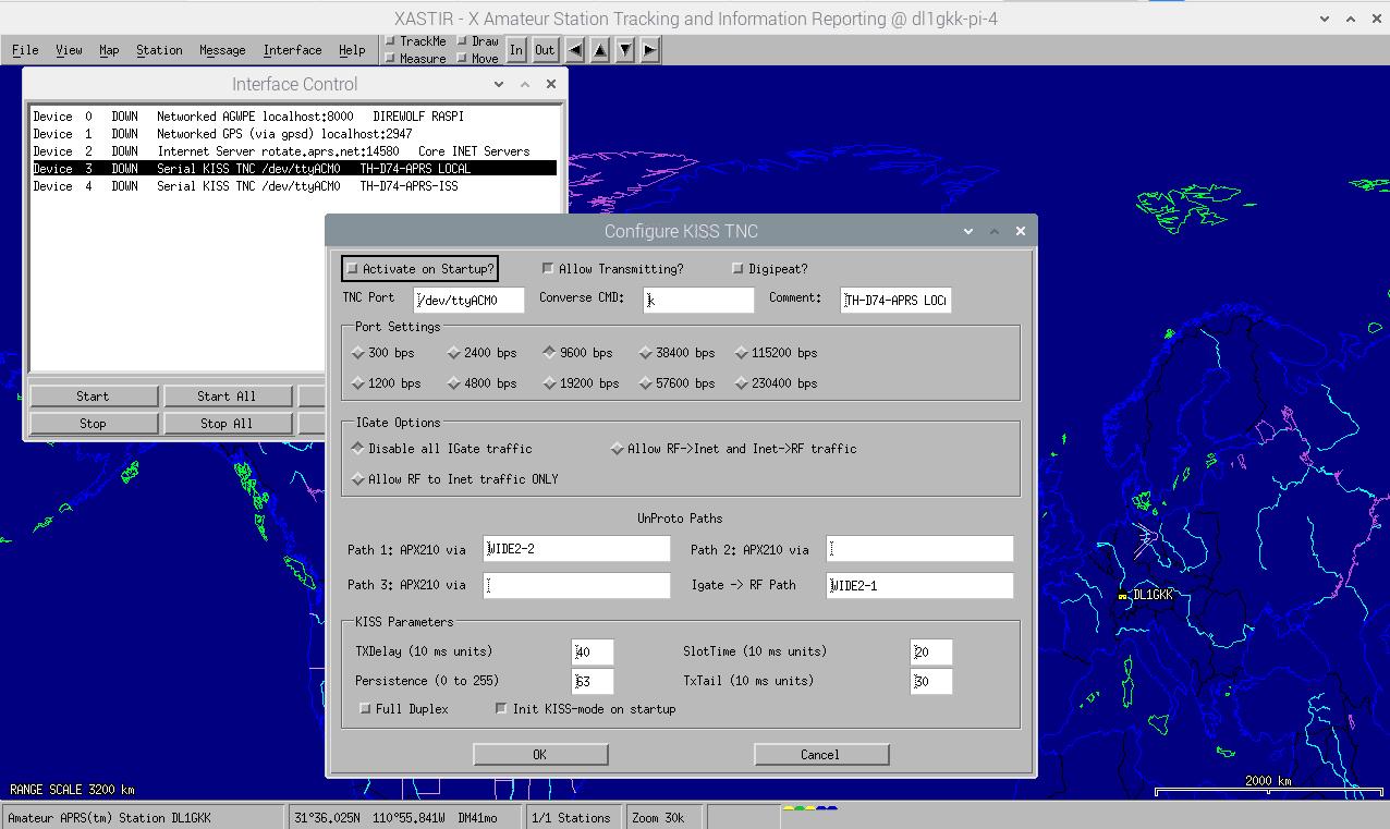 Xastir interface setting